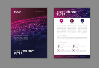 Technology Themed Flyer Layout with Blue and Pink Accents