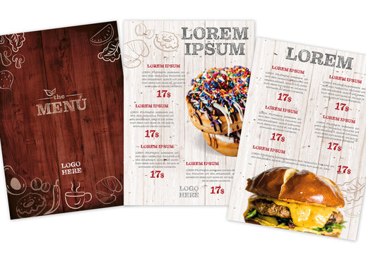 Restaurant Menu Layout with Wood Background Images