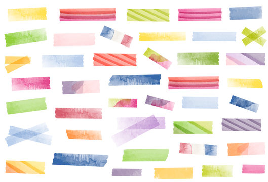 Watercolor tape strips. Semi-transparent masking tape or adhesive strips. Tie-dye, psychedelic colors. 1960s, 1970s, retro.