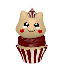 Schokoladen Cupcake mit Kätzchen im Kawaii Stil. 3d Render