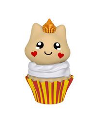 rot-gelber Cupcake mit Kätzchen im Kawaii Stil. 3d Render