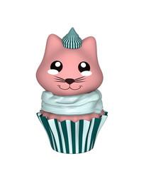 Grün-weißer Cupcake mit rosa Kätzchen im Kawaii Stil. 3d Render