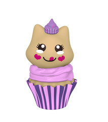 lila Cupcake mit Kätzchen im Kawaii Stil. 3d Render