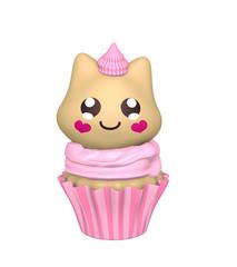 pinker Cupcake mit Kätzchen im Kawaii Stil. 3d Render