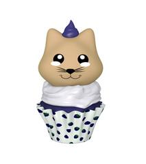 Blaubeer Cupcake mit Kätzchen im Kawaii Stil. 3d Render