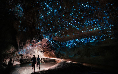 Under a glow worm sky - couple shining a light into Waipu cave filled will glow worms Wall mural
