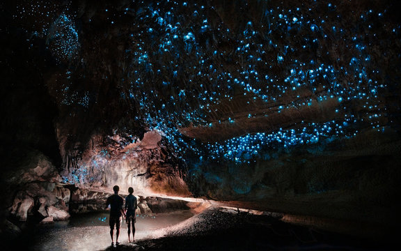 Under a glow worm sky - couple shining a light into Waipu cave filled will glow worms