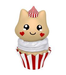 rot-weißer Cupcake mit Kätzchen im Kawaii Stil. 3d Render
