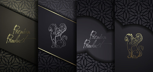 Luxury Premium design. Vector set packaging templates with different texture for luxury products. Collection of design elements with golden foil. Black paper cut background. VIP design Wall mural