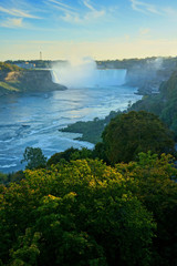 Fototapete - Vertical view of the Canadian side of Niagara Falls under late day autumn light, Ontario, Canada