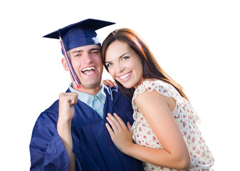 Proud Male Graduate In Cap and Gown with Pretty Girl Isolated on White