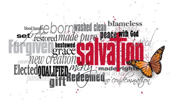 Salvation word montage with Christian Cross and New Life Butterfly