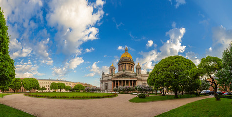 Panorama of St. Petersburg in the summer. Center of Petersburg. Saint Isaac's Cathedral. Cities of Russia. Summer day. Perspective of St. Isaac's Square. Saint Petersburg. Fototapete