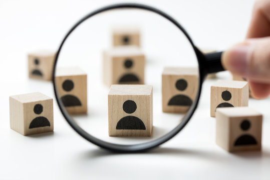 Searching for talent or looking for employee concept using magnifying glass