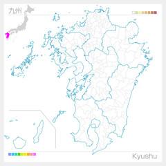 九州地方の地図・Kyushu(白地図風)