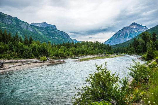 flathead river rapids in glacier national park montana