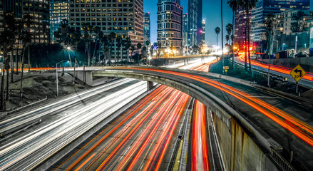 Wall Murals Night highway Los Angeles california city downtown at night