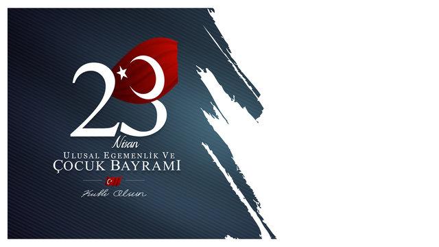 23 April, National Sovereignty and Children's Day (23 nisan ulusal egemenlik ve cocuk bayrami) vector illustration.
