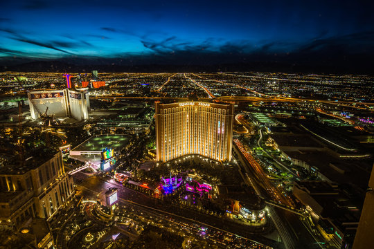 Las Vegas skyline at sunset - The Strip - Aerial view of Las Vegas Boulevard Nevada