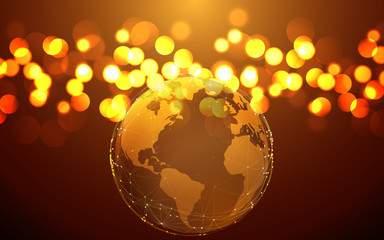 golden world map abstract background