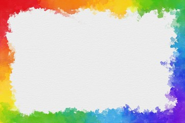 rainbow watercolor border with space for your text