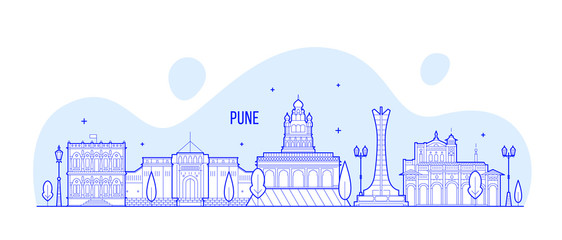 Wall Mural - Pune skyline Maharashtra India city linear vector