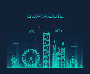 Wall Mural - Guayaquil skyline Ecuador vector linear style city