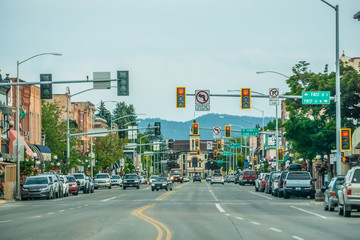 kalispell montana city streets and architecture