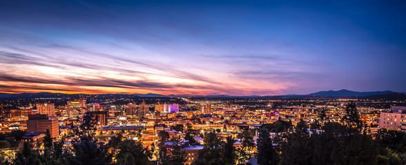 Panoramic View Spokane Washington Downtown City Skyline