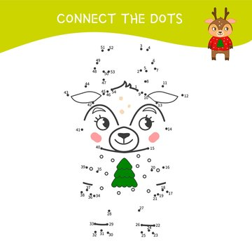 Educational game for kids. Dot to dot game for children. Cartoon cute deer.