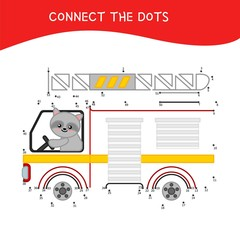 Educational game for kids. Dot to dot game for children. Cartoon raccoon in a fire truck.