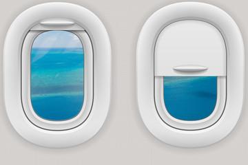 Fenster im Flugzeug mit Blick auf das Great Barrier Reef