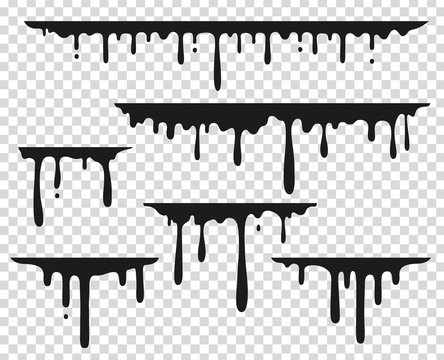 Black dripping stain. Liquid paint splash, chocolate flow border, caramel splatter leak, melt paint drop. Vector black ink dripping set
