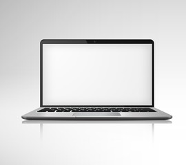 Realistic Notebook Laptop. Isolated personal office electronics computers. Vector silver PC mockup