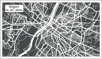 Angers France City Map in Retro Style. Outline Map. Vector Illustration.