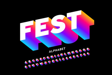 Fest style bright font design, alphabet letters and numbers Fototapete