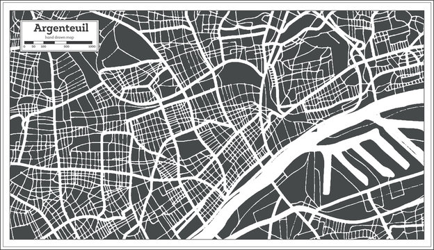 Argenteuil France City Map in Retro Style. Outline Map. Vector Illustration.