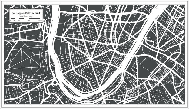 Boulogne-Billancourt France City Map in Retro Style. Outline Map. Vector Illustration.