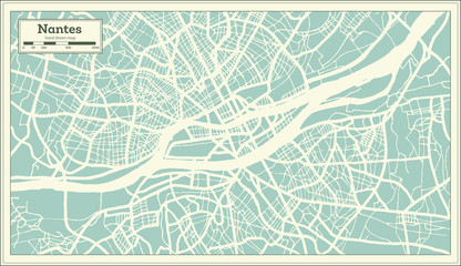Nantes France City Map in Retro Style. Outline Map. Fotomurales