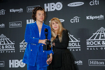 Styles and inductee Nicks pose for pictures at the press room during the 2019 Rock and Roll Hall of Fame induction ceremony in Brooklyn, New York