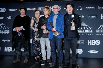 Inductees Dempsey, Thompson, Bamonte, Williams, Tolhurst of The Cure pose for pictures at the press room during the 2019 Rock and Roll Hall of Fame induction ceremony in Brooklyn, New York
