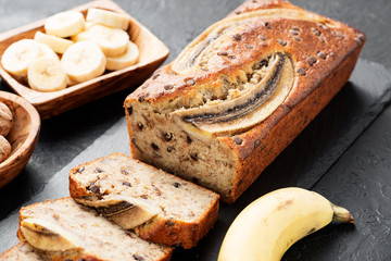 Homemade banana bread with walnut and cinnamon.