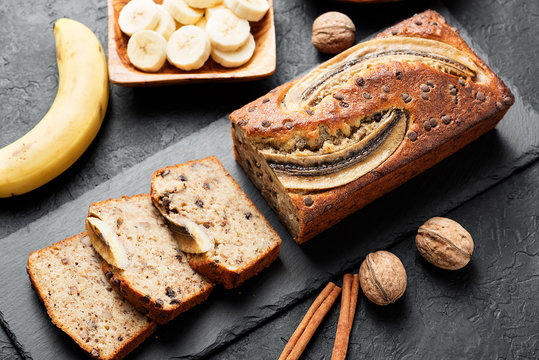 Homemade banana bread with walnut and cinnamon.