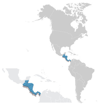 Vector illustration map of Central America in blue with zooming replica of countries