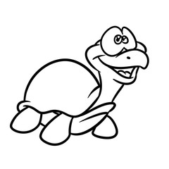 Turtle little animal cartoon illustration isolated image coloring page