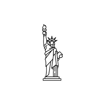 Statue of Liberty icon. American tourism sign