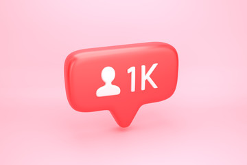 One thousand friends or followers social media notification with heart icon