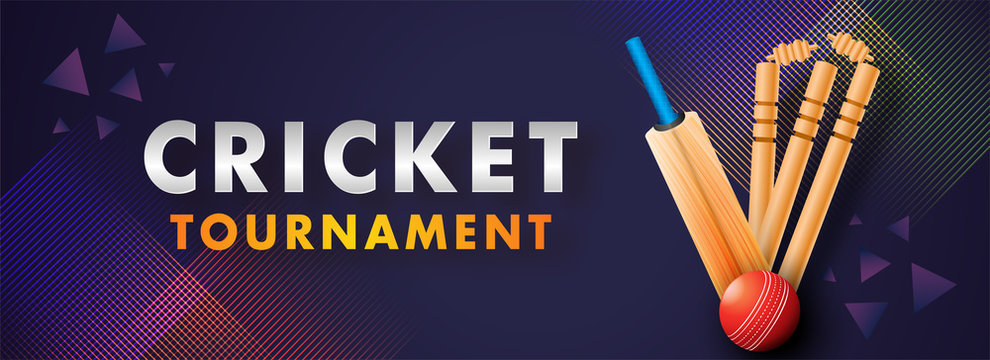 Website Header banner or poster design of Cricket Tournament with abstract cricket equipment on dark purple background.