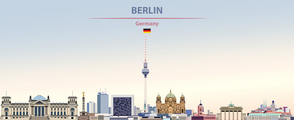 Fototapete - Vector illustration of Berlin city skyline on colorful gradient beautiful day sky background with flag of Germany