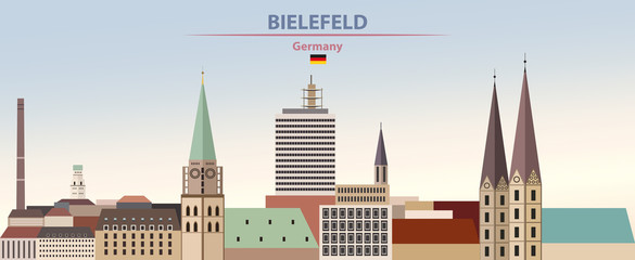 Fototapete - Vector illustration of Bielefeld city skyline on colorful gradient beautiful day sky background with flag of Germany